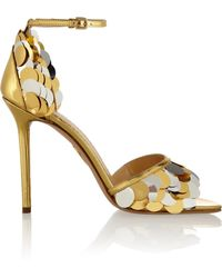 Charlotte Olympia Triton Embellished Metallic Leather Sandals - Lyst