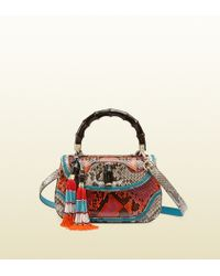 Gucci Limited Edition New Bamboo Python Top Handle Bag - Lyst