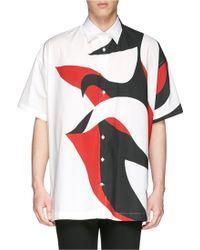 Alexander McQueen Oversize Abstract Print Cotton Poplin Shirt - Lyst
