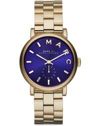 Marc By Marc Jacobs Baker Goldtone Stainless Steel Bracelet Watch/Blue - Lyst