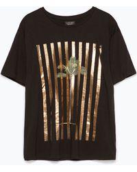 Zara Printed T-Shirt black - Lyst
