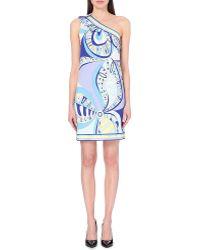 Emilio Pucci Asymmetric Printed Satin Dress - Lyst
