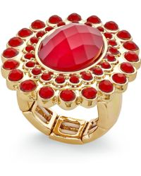 Style & Co. - Gold-tone & Red Oval Stone Pavé Ring - Lyst
