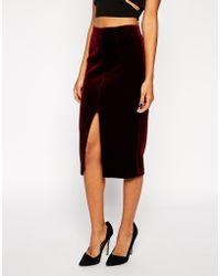 Asos Pencil Skirt in Bonded Velvet - Lyst