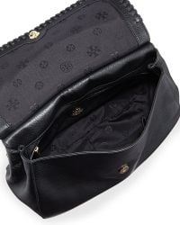 Tory Burch Marion Leather Saddle Bag Black - Lyst