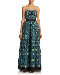 Peter Pilotto Kinetic Strapless Jacquard Gown green - Lyst