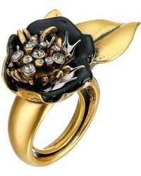 Oscar de la Renta Painted Flower Ring - Lyst