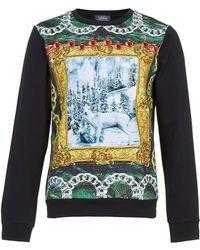 LAC - Bk Neoprene Festive Stag Printed Sweatshirt - Lyst