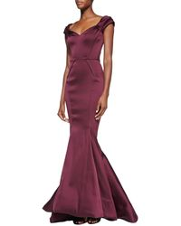 Zac Posen Sweetheart Pinched-sleeve Mermaid Gown - Lyst
