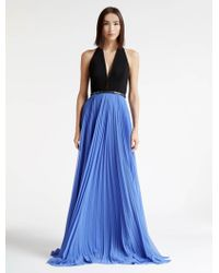 Halston | Crepe and Georgette Colorblocked Gown | Lyst