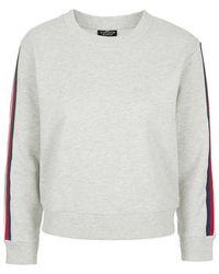 Topshop Petite Stripe Sleeve Sweater - Lyst