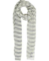 Barneys New York Thin-Striped Scarf gray - Lyst