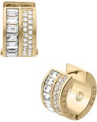 Michael Kors Pave/Baguette Crystal Hug Earrings - Lyst