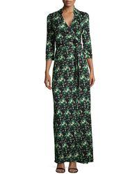 Diane von Furstenberg Abigail Floral Jersey Maxi Wrap Dress - Lyst