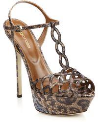 Sergio Rossi Snakeskin Platform Sandals brown - Lyst
