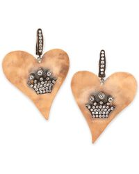 Irit Design Hammered Pink Gold Heart Earrings With Diamond Crowns - Metallic