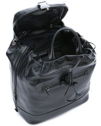 Prada Black Leather Expandable Convertible Backpack Tote - Lyst