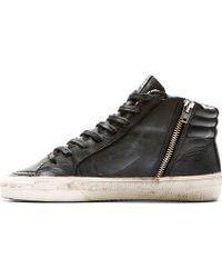 Golden Goose Deluxe Brand Black Leather Studded Slide Sneakers - Lyst