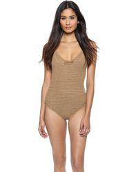 She Made Me Crochet One Piece Swimsuit - Sand - Lyst