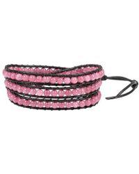Aeravida - Pink Muse Rhodonite Gemstone Tribal Wrap Leather Bracelet - Lyst
