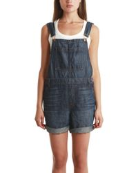 J Brand Short Coverall blue - Lyst