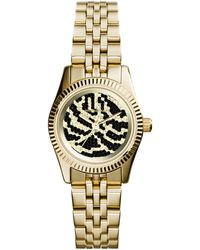 Michael Kors Petite Golden Stainless Steel Lexington Threehand Glitz Watch - Lyst