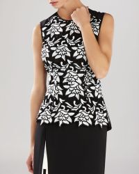 BCBGMAXAZRIA Top - Shanine Lace-Front Peplum - Lyst