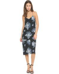 Tibi Printed Slip Dress Black Multi - Lyst