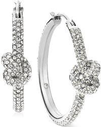 Michael Kors Silver-Tone Pavé Knot Hoop Earrings - Lyst