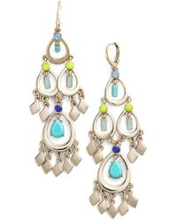Kent & King - 'drama' Chandelier Earrings - Turquoise/ Gold - Lyst