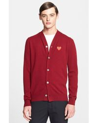 Comme des Garçons 'Play' Wool Cardigan With Heart Applique - Lyst
