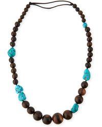 Viktoria Hayman - Tiger Wood & Freeform Turquoise Necklace - Lyst