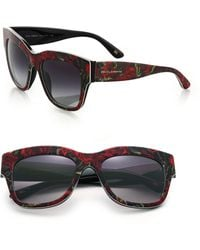 Dolce & Gabbana Lace-Print Plastic Sunglasses red - Lyst