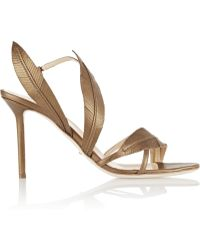 Sergio Rossi Laurus Metallic Leather Slingback Sandals - Lyst