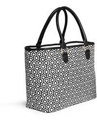 Mischa - 'shopper' Hexagon Print Coated Canvas Tote - Lyst