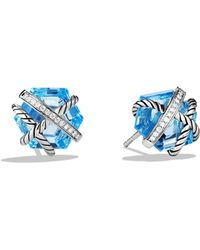 David Yurman Cable Wrap Earrings with Blue Topaz and Diamonds - Lyst