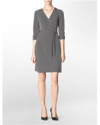 Calvin Klein Geometric Print Roll-up Wrap Dress - Lyst