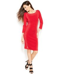 Calvin Klein Long-sleeve Studded Knit Sheath - Lyst