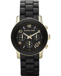 Michael Kors Wrapped Gold Ip Stainless Steel Bracelet Watch black - Lyst