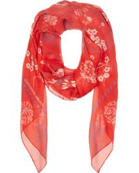 Alexander McQueen Red And Blue Silk Swallow Check Scarf - Lyst