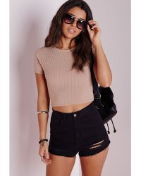 Missguided Capped Sleeve Ribbed Crop Top Taupe - Lyst