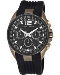 Vince Camuto Mens Gold Tone and Black Round Watch with Silicone Strap - Lyst