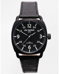 Ben Sherman Black Leather Strap Watch Wb008b - Lyst