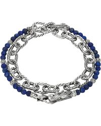 John Hardy Naga Double Wrap Silver Link Bracelet With Lapis - Lyst