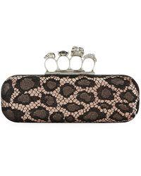 Alexander McQueen Leopard Lace Knuckle Duster Clutch - Lyst