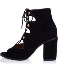 River Island | Black Ghillie Lace-up Block Heels | Lyst