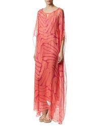 Issa - Camilla Metallic Silk Kaftan Dress - Lyst