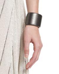Brunello Cucinelli - Metallic Leather Cuff Bracelet - Lyst