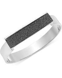 ABS By Allen Schwartz - Silvertone Black Glitter Bangle Bracelet - Lyst