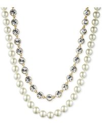 Givenchy Goldtone Glass Pearl and Crystal Tworow Necklace - Lyst